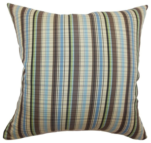 Decorative Pillows With Stripes : Shop Houzz The Pillow Collection Inc. Octavia Stripes Pillow Blue Brown - Decorative Pillows