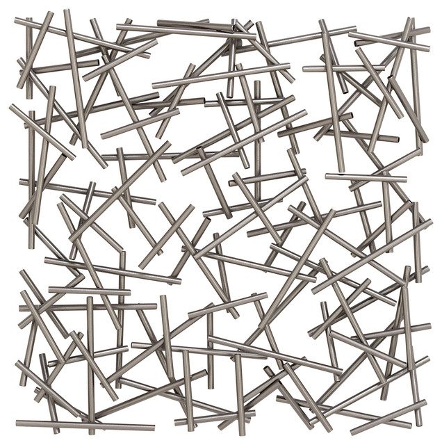Large Square Contemporary Silver Abstract Art Metal Wall Decor 20 X20