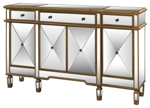 Mirrored Console Table With 3-Drawer And 4-Door.