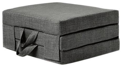 Futon Guest Mattress, Polyester, Carry Handles, Modern Design, Single, Slate