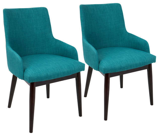 Santiago Dining Chairs, Set Of 2, Teal Fabric, Walnut Legs.