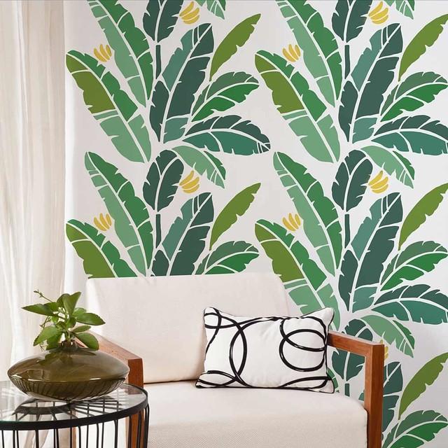 Banana Leaf Allover Stencil Easy DIY Wall Decor