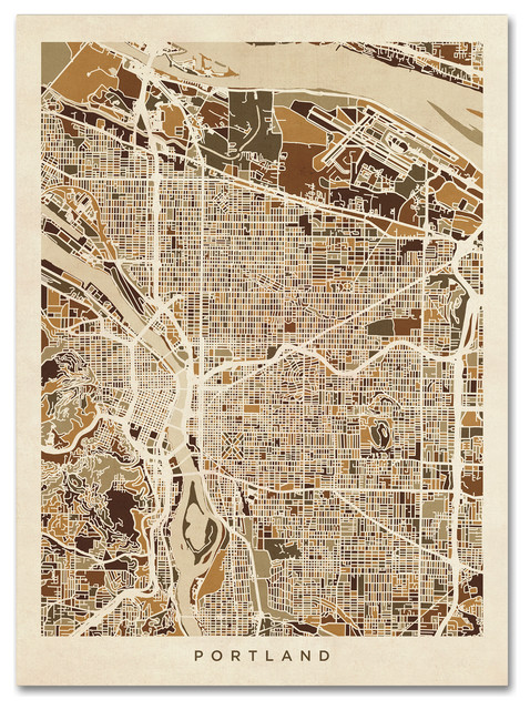 Michael Tompsett Portland Oregon City Street Map Ii Canvas Art 14 X 19