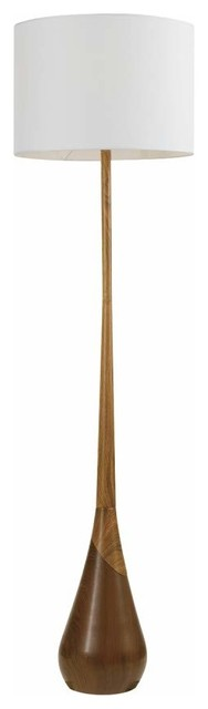 Contemporary Floor Lamp, Tear Drop Faux Wooden Base With White Drum Shade