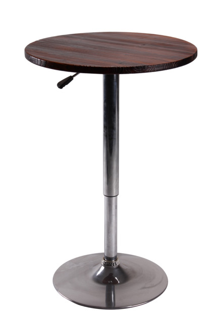 Height Adjustable Wood Top Bar Table With Chrome Stand  Contemporary Indoor Pub And