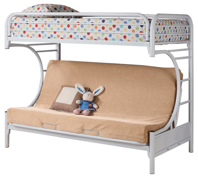 Twin Over Futon Bunk Bed, White.