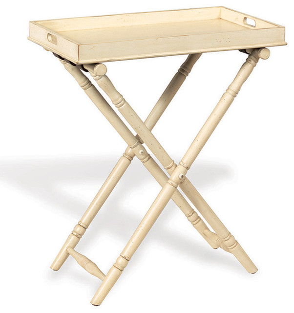 Devon Butler Beach Style Folding Tray Table Ivory Beach Style Console Tables