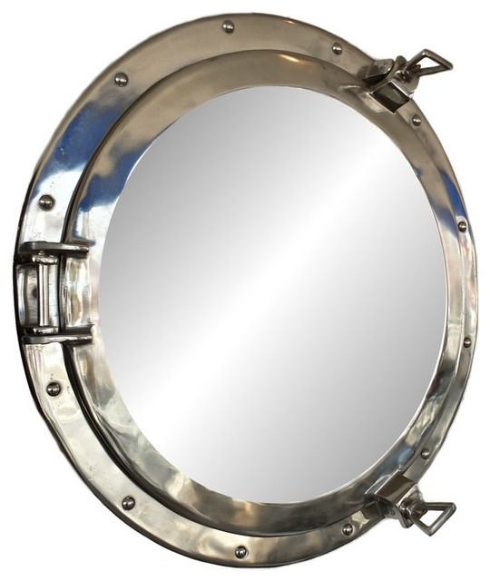 decorative ship porthole mirror chrome beach style