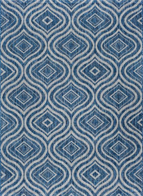 Varuca Geometric Indigo Rectangle Easy-Care Indoor/outdoor Area Rug, 5&x27; X 7&x27;.