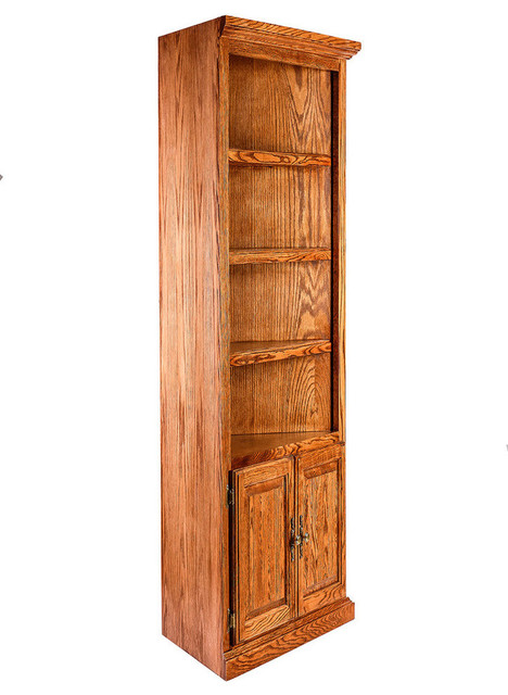 traditional oak corner bookcase lower doors traditional bookcases by oak arizona. Black Bedroom Furniture Sets. Home Design Ideas
