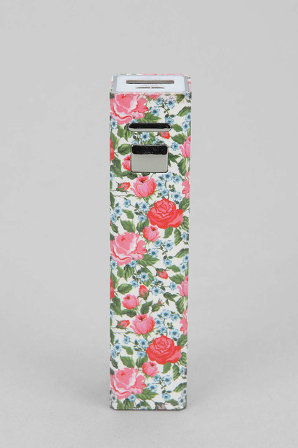 Printed Portable Phone Charger, Floral Multi contemporary-home-electronics