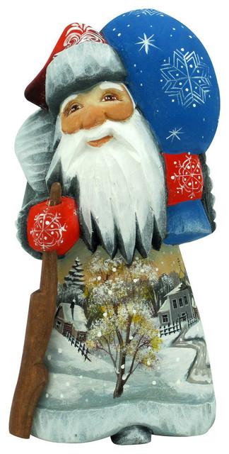 G Debrekht Snow Day Yuletide Santa Hand-Painted Wood Carving
