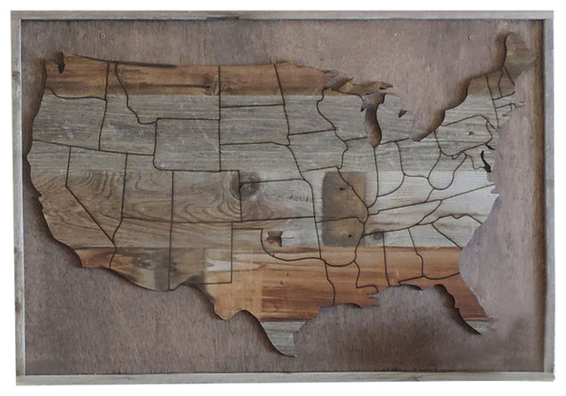 Large Reclaimed Wood Usa Map