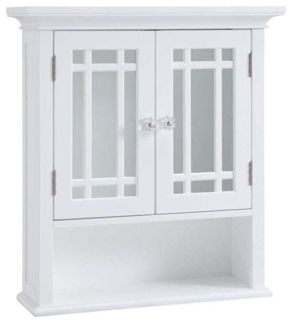 Andis Wall Cabinet, 2 Door, Open Shelf, White   Transitional   Bathroom  Cabinets   By Elegant Home Fashions