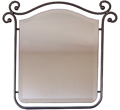 Suspended Beveled Wrought Iron Mirror