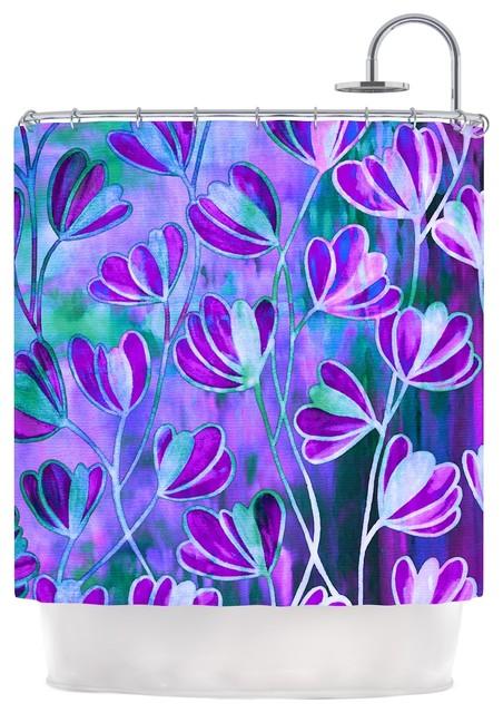 Ebi Emporium Efflorescence Lavender Blue Teal Purple Shower Curtain