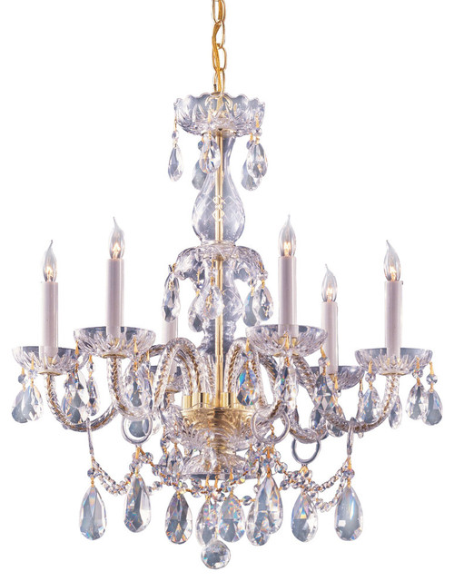 Hand cut crystal chandelier traditional chandeliers by elitefixtures - Traditional crystal chandeliers ...