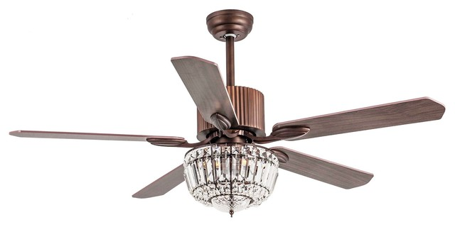 Rustic 52 Crystal Ceiling Fan With 3