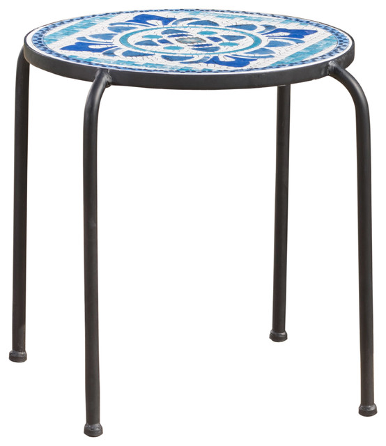 Sindarin Outdoor Blue And White Ceramic Tile Iron Frame Side Table