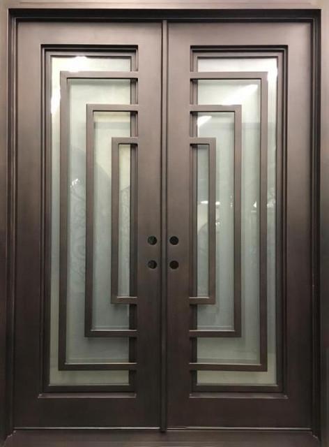 "Reflection Right Hand In-Swing Sandblast Glass Door, 72""x96""."