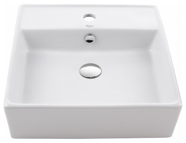 Kraus Square Ceramic Vessel Bathroom Sink, White