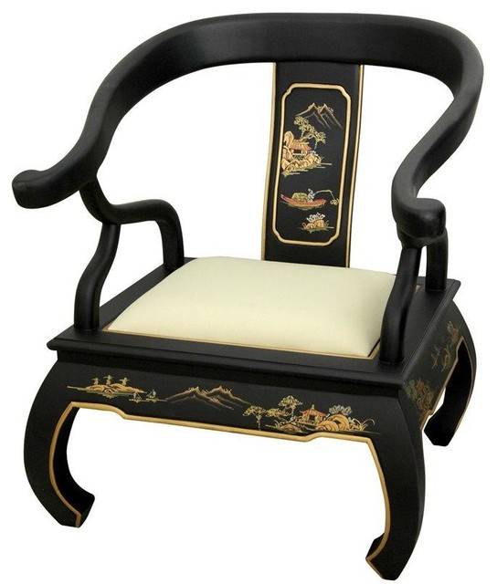 Charmant Black Landscape Ming Chair