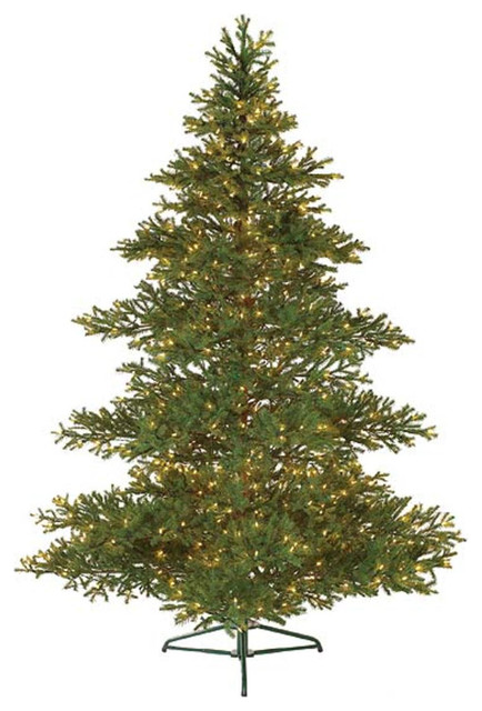 7.5' Pre-Lit Layered Balsam Artificial Christmas Tree, Clear Lights