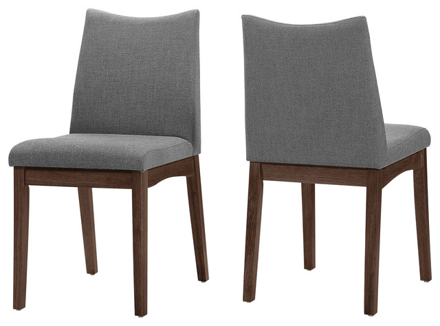 Gertrude Fabric And Wood Finish Mid Century Modern Dining Chairs, Set Of 2.