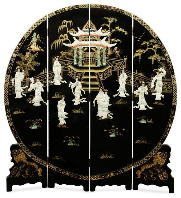 72 Quot Black Lacquer Mother Of Pearl Motif Floor Screen