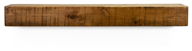 "Rustic Fireplace Mantel Shelf, Aged Oak, 60""."