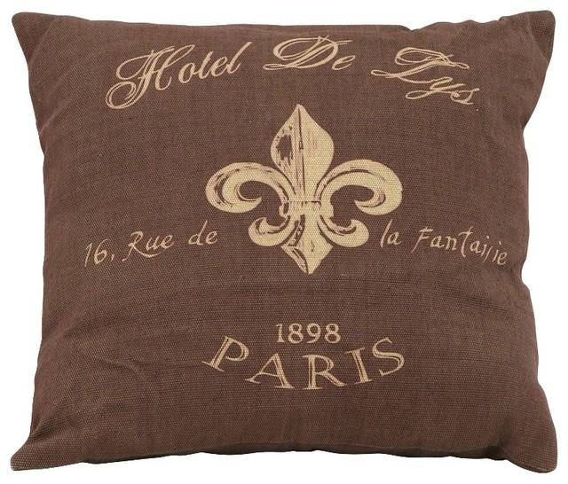 Brown Fabric Pillow Beige Fleur De Lis