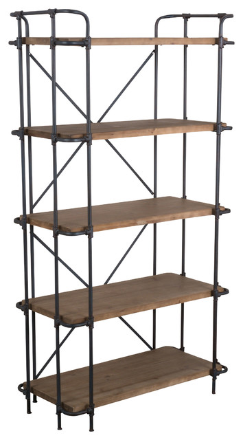Cobek 5-Shelf Industrial Solid Wood Bookcase, Brown industrial-bookcases