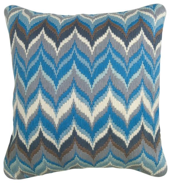Jonathan Adler Flame Blue/Grey Bargello Pillow