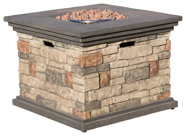 Crawford Outdoor Square Liquid Propane Fire Pit With Lava Rocks - Crawford Outdoor Square Liquid Propane Fire Pit With Lava Rocks