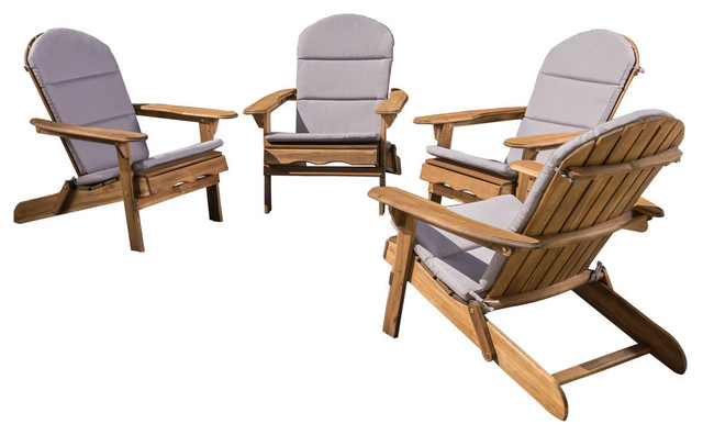 Enjoyable Gdf Studio Amenda Acacia Adirondack Chairs With Cushions Natural Gray Set Of 4 Customarchery Wood Chair Design Ideas Customarcherynet
