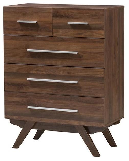 Auburn Mid-Century Modern Walnut Brown Wood 5-Drawer Chest