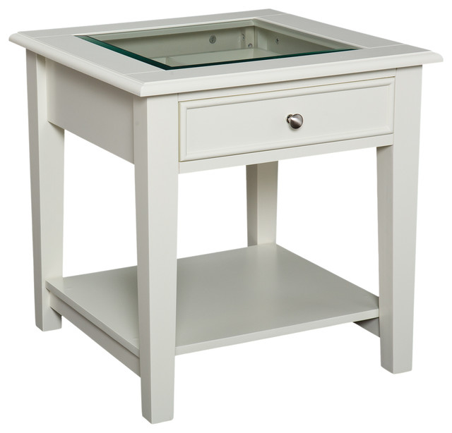 Southern Enterprises Inc Somerset Panorama End Table, Off White  Contemporary Side Tables