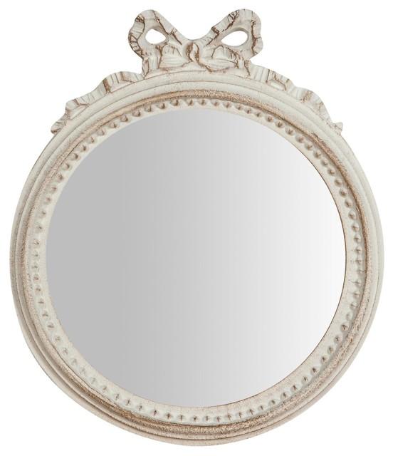 Bow Detail Flat Oval Wall Mirror, White, 25x29 cm