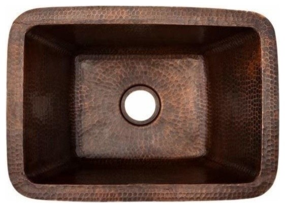 Rectangle Copper Bar Sink W/ 2 Drain Size Traditional Bar Sinks