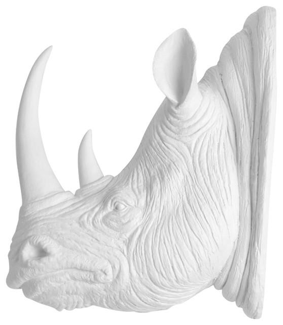Faux Resin Rhino Head Wall Mount Contemporary Wall