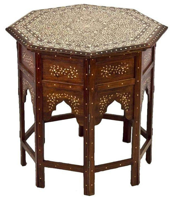 Moroccan Bone Inlay Side Table Mediterranean Side Tables And End Tables