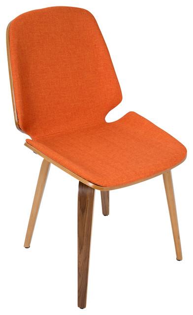 Serena Mid Century Modern Dining Chairs Walnut Wood Orange Fabric