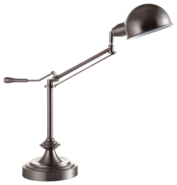 24 5 Tall Metal Adjule Table Lamp With Perch Swing Arm Silver Finish