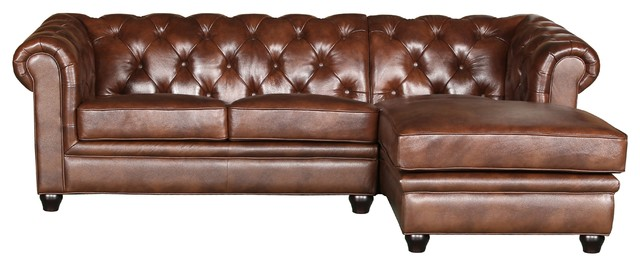 Sensational Abbyson Living Tuscan Leather Chaise Sectional Brown Ncnpc Chair Design For Home Ncnpcorg