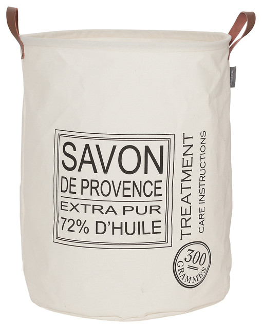 "Round Laundry Bag 16""x20"" Sealskin Savon De Provence Off-White Fabric."