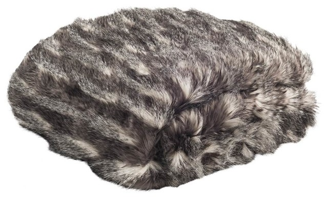 Faux Pheasant Throw Blanket, Black And Gray by Safavieh