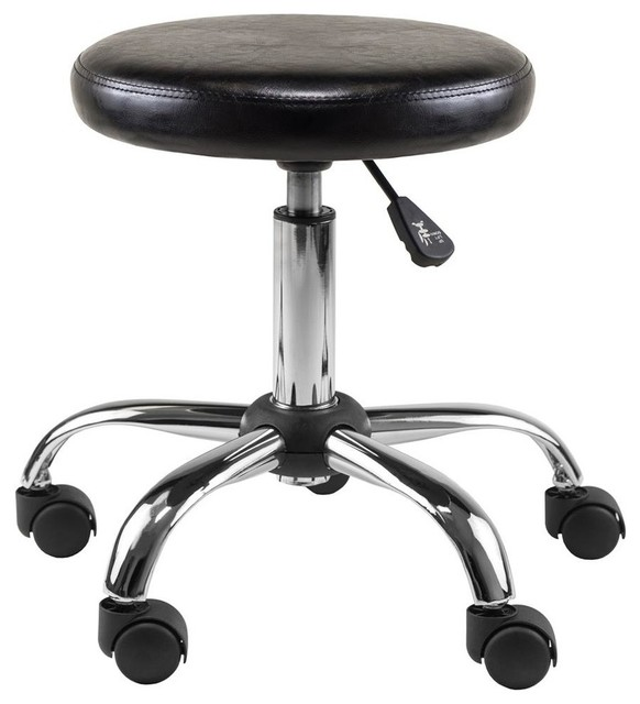 Winsome Clark Faux Leather Adjustable Swivel Drafting Stool in Black