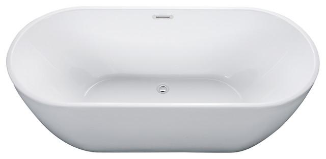 Alfi Brand Ab8839 67 Inch White Oval Acrylic Free Standing Soaking Bathtub.