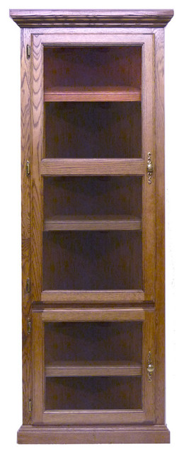 traditional corner bookcase with glass doors traditional bookcases by oak arizona. Black Bedroom Furniture Sets. Home Design Ideas