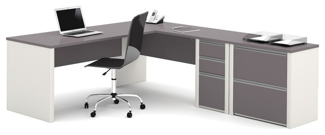 Bestar Connexion L-Shaped Workstation With Lateral File, Slate And Sandstone.